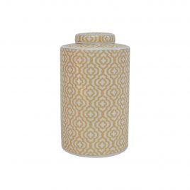 Gold Geometric Pattern Ceramic Ginger Jar (Large)