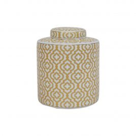 Gold Geometric Pattern Ceramic Ginger Jar (Small)