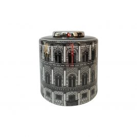 Black & White Architecture Caramic Jar  (Medium)