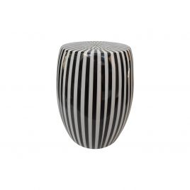 Black & White Stripe Cermic Garden Stool