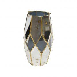 Antique mirror vase w/ Gold Trim (Large)