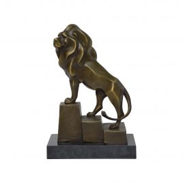 Lion Bronze Sculpture on Base