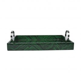 Green Malachite Mirror Tray w/ Silver Handle