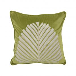 Plam Leaf Green Velvet Pillow