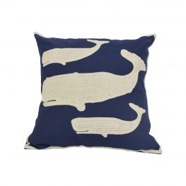 Whale Navy Blue Throw Pillow