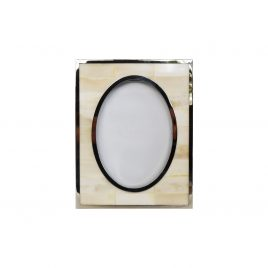 White horn with silver trim frame (L)
