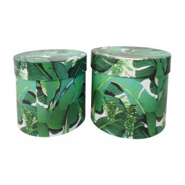 Paper Box Tropical Leaves Printed