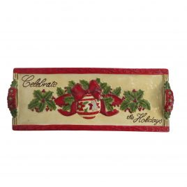 Christmas ceramic horderve tray