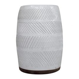 White Textured Ceramic Garden Stool