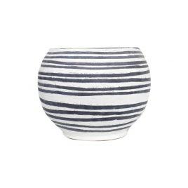 Black & White Stripe Stonewear Planter