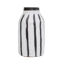 Black & White Stripe Stonewear Vase