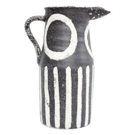 Black & White Stripe Stonewear Pitcher