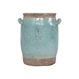 Candia Blue Glazed Ceramic Vase