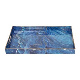 Blue Malachite Rectangular Trays (L)
