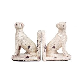 White Ceramic Dog Bookend