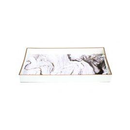 White Marbled Rectangular Trey (L)