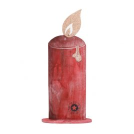 Wooden Red Christmas Candle