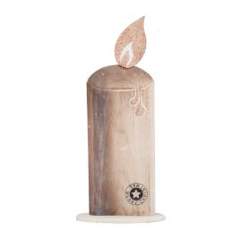 Wooden White Christmas Candle