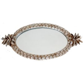 Silver Pineapple Mirror Tray