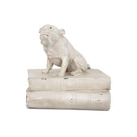 White Bulldog on book