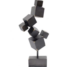 Metal Black Cube Sculpture