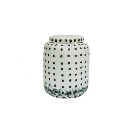 Black Dotty Ceramic Jar with Lid