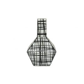 Black Grid Vein Ceramic Vase (S)
