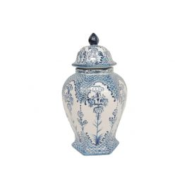 Blue & White Urn with Lid (S)