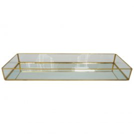 Glass Mirror Tray with Gold Trim (L)