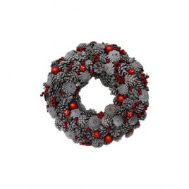 Frosted Red Berry Christmas Wreath (L)