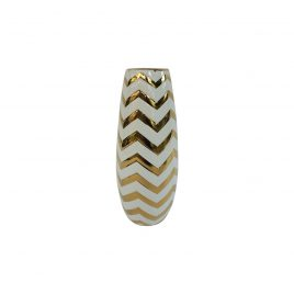 Gold Zigzag pattern Ceramic Vase