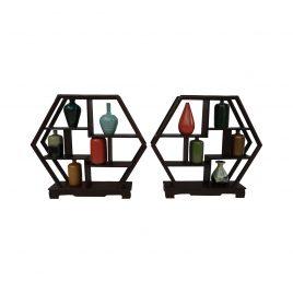 Miniature Ceramic Vase on Hexagon Shelf