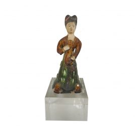 Ceramic Chinese Lady Doll with Crystal Base