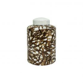 Leaf Pattern Ceramic Ginger Jar with Lid (L)