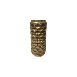 Metal Vintage Gold Distressed Vase (L)