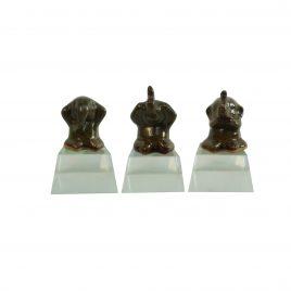 Indigo Ceramic Elephant w/ Crystal Base (Set 3 pcs)