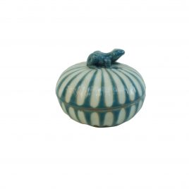 Blue Frog Stripe Ceramic Jewelry Box