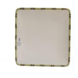 Square Ceramic Bamboo Trim Center Plate (Large)