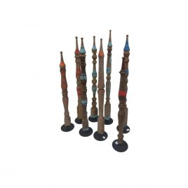 Assorted Antique Wooden Stick on Stand