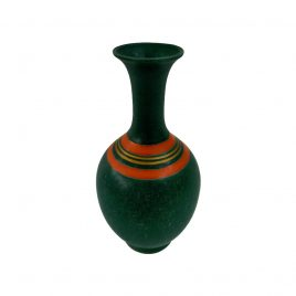Emeral Green w/ Red Stripe Ceramic Vase (Vintage Collection)