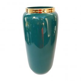 Emerald Green w/t gold trim Vase (Large)