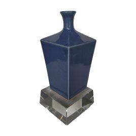 Co-blue glazed ceramic vase w/ Crystal Base