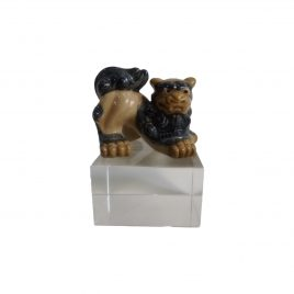Vintage Chinese Foo Fu Dog Dragon Ceramic Sculpture on Crystal Base